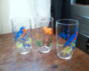 Three Mid Century Modern Tumbler Glasses with Birds