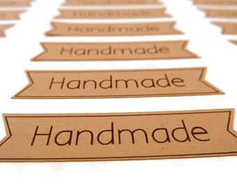 Kraft Stickers - Handmade Stickers - 55 Count - Kraft Labels - 2.0 in - Banner Sticker - Product Sticker - Pennant Sticker - Flag Sticker