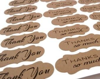 Thank You Sticker -  Kraft Sticker - Kraft Label - 1.5 x 0.6 inches - 60 Count - Thank You Label - Wedding Favor Sticker - Product Sticker