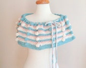 Cherful Infinity, Colorful, Women, Scarf, Capelet, Blue, Pink , Cream - allapples
