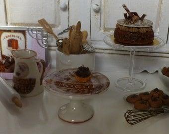 Vintage Chocolate Porcelain  Dollhouse Cake Stand
