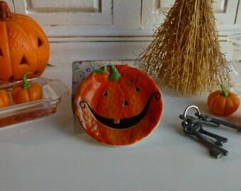 Dollhouse Miniature Halloween Pumpkin Plate