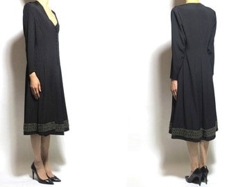 1930's French antique wool long dress