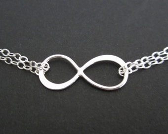 3 Sterling Silver Infinity Bracelets. Thank You Gift for Bridesmaids. Sterling Silver. 3 Sisters. 3 Best Friends Bracelets. Bridal Jewelry