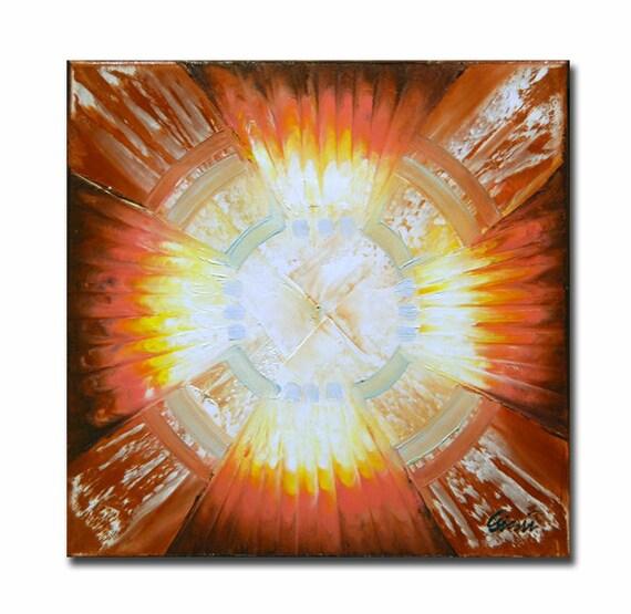 ORIGINAL mandala painting spiritual art meditation art mandala art circle orange brown