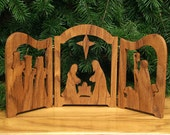 Nativity Scene Triptych (Oregon Oak) Manger Scene, Creche, Baby Jesus, Nativity Silhouette, Three Wise Men