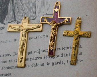 2pcs French Vintage cross  crucifix in solid brass gold red enamel cross jesus