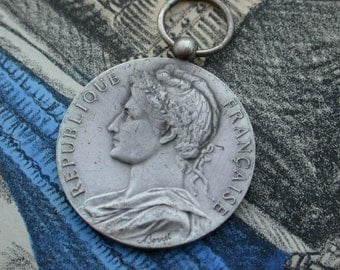 french antique 1982S  bronze silver  olive leaves french woman republique francaise by minister Signed medal TRAIN locomotive