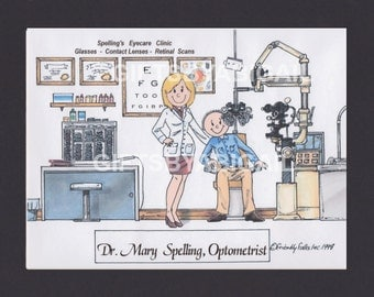 OPTOMETRIST Personalized Cartoon Picture Person Pic Gift - Custom Matted Print 8x10 or 9x12, Keychain or Magnet