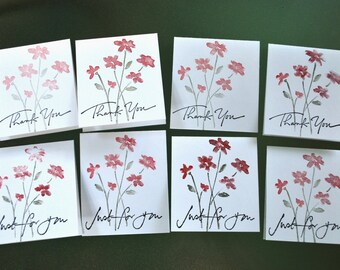 12 mini note cards, handmade mini notes, no envelopes.