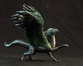 Dragon Figurine Fantasy Sculpture OOAK Dragon Black Feathered Dragon