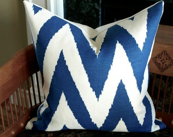 "Quadrille TASHKENT Designer Pillow Cover in Royal Blue on Oyster, Chevron Accent Pillow, Toss Pillow, Throw Pillow 18"", 20"" , 22"", 24"" sq."