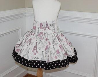 paris skirt eiffel tower skirt skirt summer skirt spring skirt twirly skirt pink silver black eiffel tower fabric girls skirt birthday
