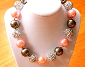 girls chunky necklace bubblegum necklace pink silver gray charcoal fall necklace girl necklace chunky necklace pearl rhinestone 20mm 22mm