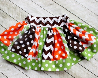 Thanksgiving skirt Chevron skirt Fall skirt girls chevron thanksgiving outfit  brown green orange chevron and polka dots fall outfit toddler