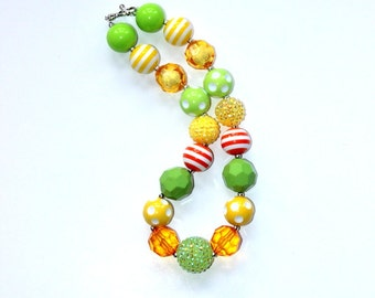 girl chunky bead necklace citrus lime green yellow and orange girl bubblegum necklace girl chunky bubblegum bead necklace M2M Matilda Jane