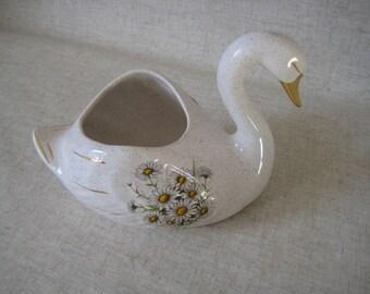 Swan Pot Holder or Vase from Kernewek Cornish Pottery