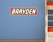 Lego Style Custom Name Wall Decal - Kids Bedroom Vinyl Wall Decal