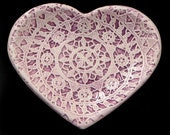 Ceramic heart, hand made, with lace motif from island Pag, Croatia. Width 10,5 cm, Height 9,4 cm