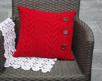 red knitted pillows knit pillow cover throw pillow knitted cushion knit couch pillow red sofa pillow
