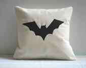 Bat Pillow Cover Black Cream