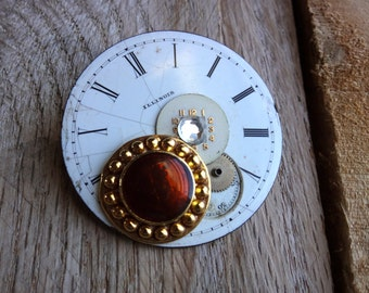 A06 Steampunk Antique Illinois Pocket Watch Face and Vintage Costume Jewelry Brooch -- FREE SHIPPING