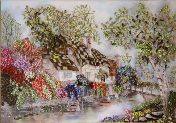 Stonewall cottage silk embroidery wall hanging