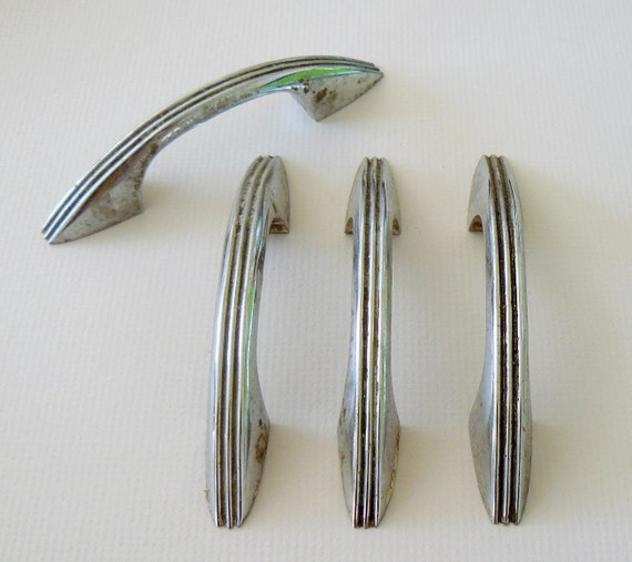 Sale Retro Chrome Kitchen Cabinet Hardware 50s Vintage Style