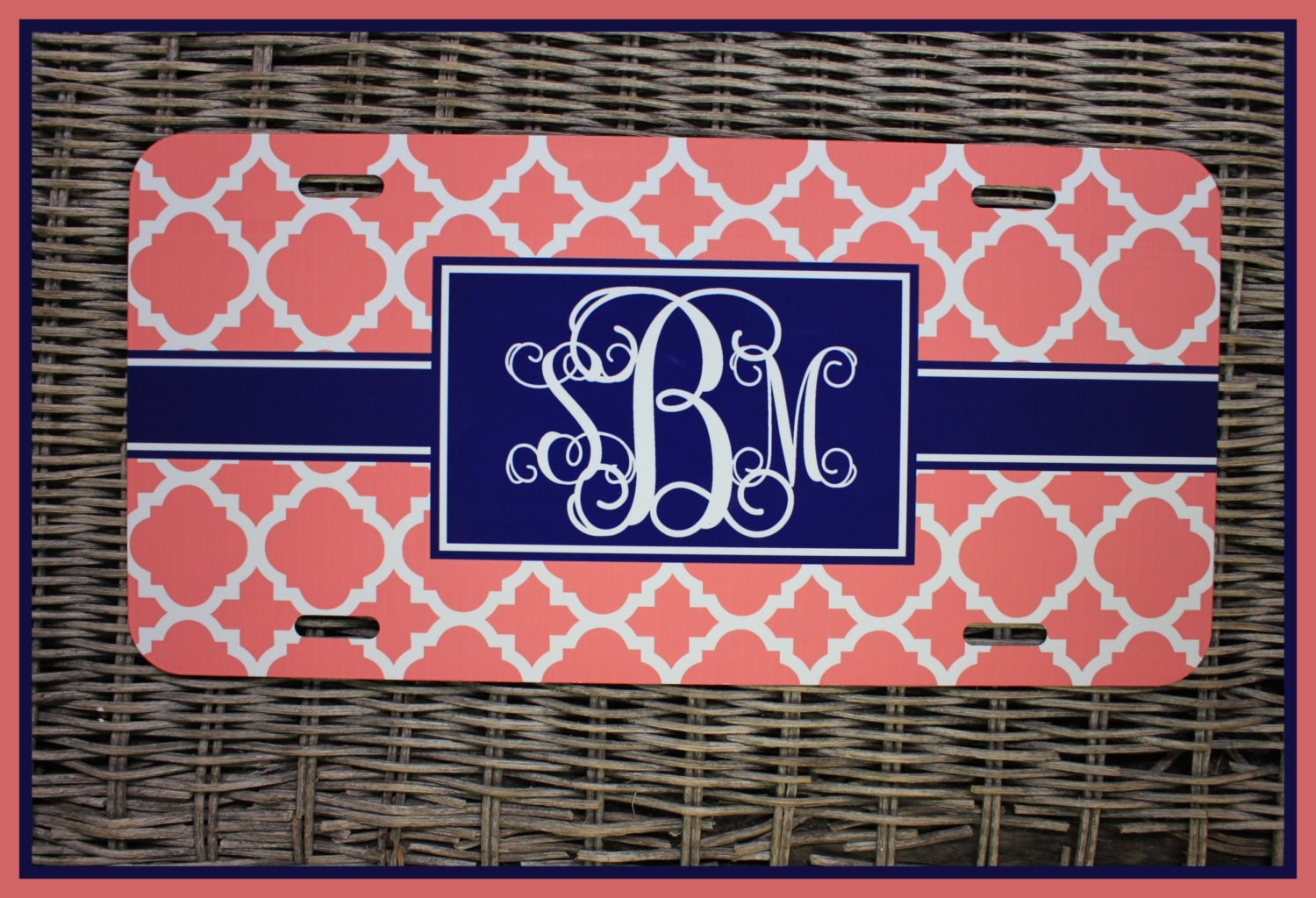 Personalized Monogrammed License Plate Car Tag Monogram
