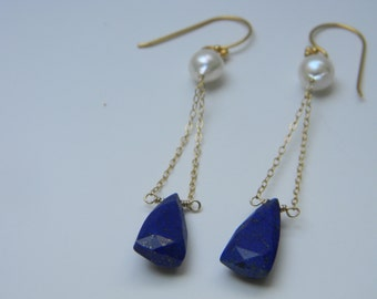 SALE. earrings. lapis lazuli. akoya pearl.