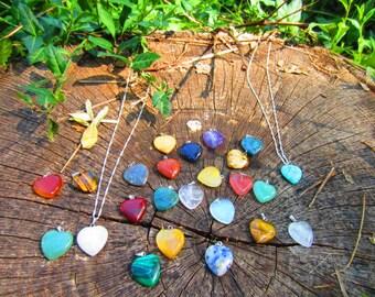 Valentine's Day Special! Semi-Precious Heart Pendant on 925 Sterling Silver Chain