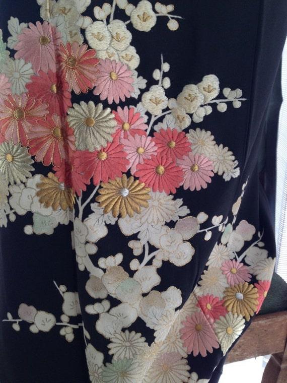 Vintage Japanese Kimono Silk With Multicoloured Embroidered