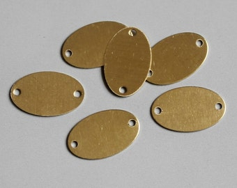 100pcs Raw Brass Oval Connectors With Two Hole,Stamping Tags Findings 18mm x 11mm - F93