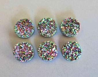 Polished Natural Quartz Rainbow Color Titanium Round Druzy Cabochon 6mm