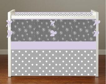 Girl Crib bedding Baby Bedding Crib Set -Lavender Purple Dandelions and Gray Chevron