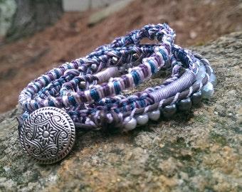 5 stitch wrap bracelet- Gulfstream
