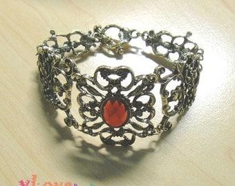 Vintage red rhinestone antique brass bracelet (V-154)
