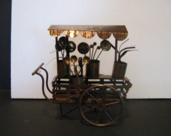 Metal Copper Flower Cart Yard Art Decor