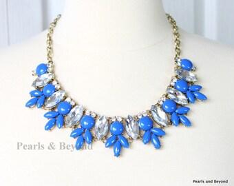 Crystal Statement Necklace Royal Blue