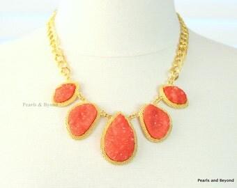 Coral Geode Stone Necklace Druzy Stone Bib Necklace Orange Stone Necklace