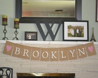 10 Flag Custom Baby Name Burlap Banner, Photo Prop, Party Banner