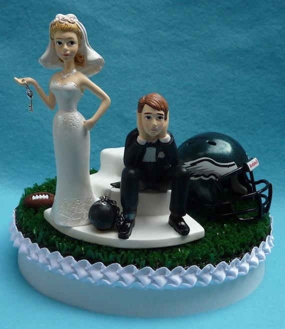 Wedding Cake Topper Philadelphia Eagles Football Themed Ball