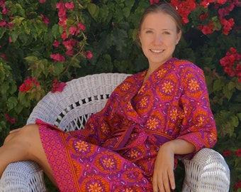 Border Print Robe, Mother's Day Gift, Swim Cover Up