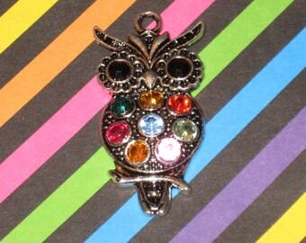 Big Owl Enamel Pendant Charm(s) Only