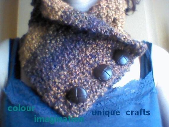 echarpe tricot brun f minin avec boutons scarflette collier. Black Bedroom Furniture Sets. Home Design Ideas