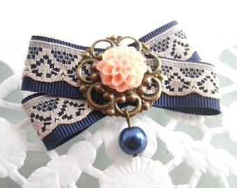 Pink dahlia - loop brooch marine blue pink cabochon textile fabric lace brooch