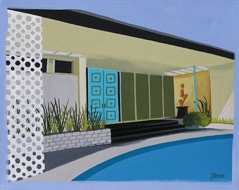 Mid Century Modern Eames Retro Limited Edition Print from Original Painting Palm Springs Pool