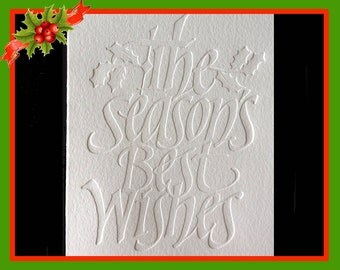 Calligraphic Blind Embossed Christmas Greeting Cards (Box of 10)