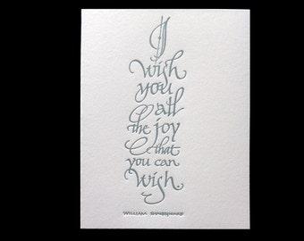 Letterpressed Calligraphic Shakespeare Quotation