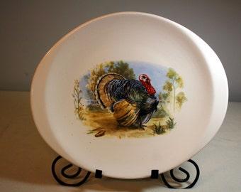 Turkey Platter-large Thanksgiving platter-vintage servingware-oval-white with thanksgiving scene